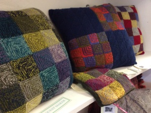 Hand knitted cushions by Karen Andrews