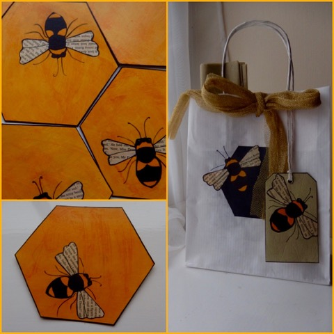 Gift bags and tiles by Helen Thompson