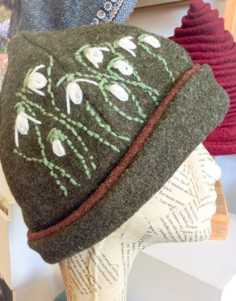 Embroidered hat by Lizzie Oliva